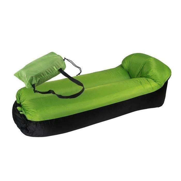 Nouveau canapé paresseux sac de couchage canapé lit gonflable pliable rapide plage chaise -185cm vert