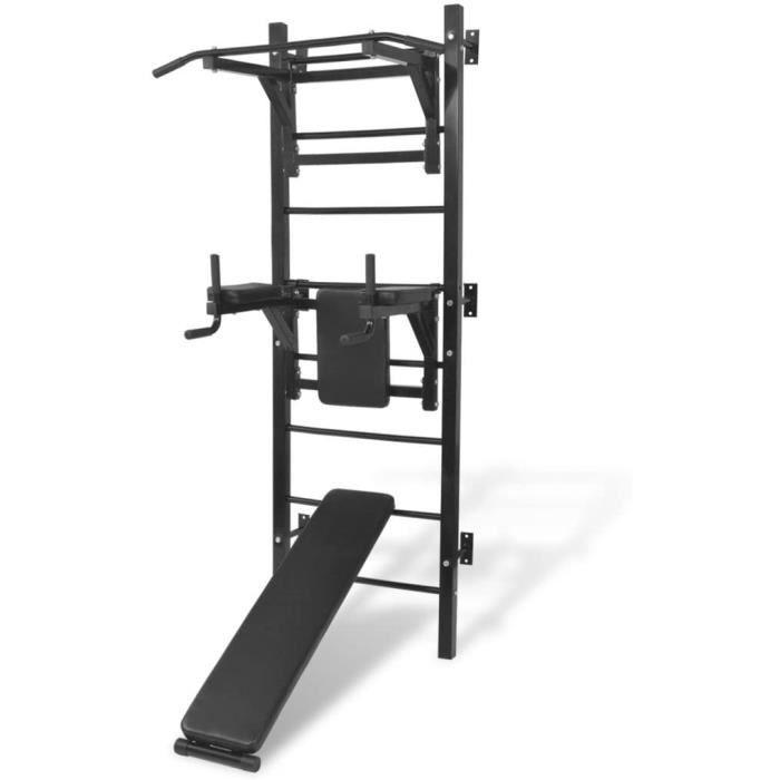 vidaXL Tour de Musculation Murale Multifonctions Exercices Fitness Barre de Traction Pull-up Station de Dip Levée Abdominaux Sa165