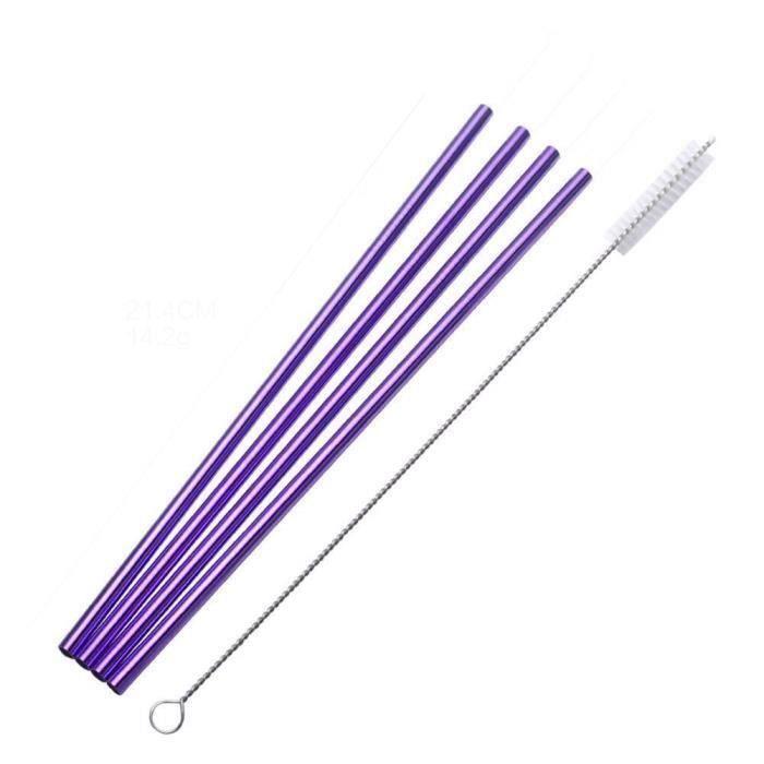 réutilisables en acier inoxydable potable courbe-droite pailles Portable coloré pailles 4 pcs+1 PC Brosse straight str LIFFT7533