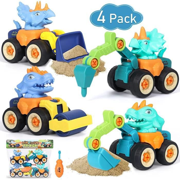 4pcs Dinosaure Voiture Enfant DIY Véhicules de Construction Jeux Assemblage et Démontage Voiture de Chantier Camion