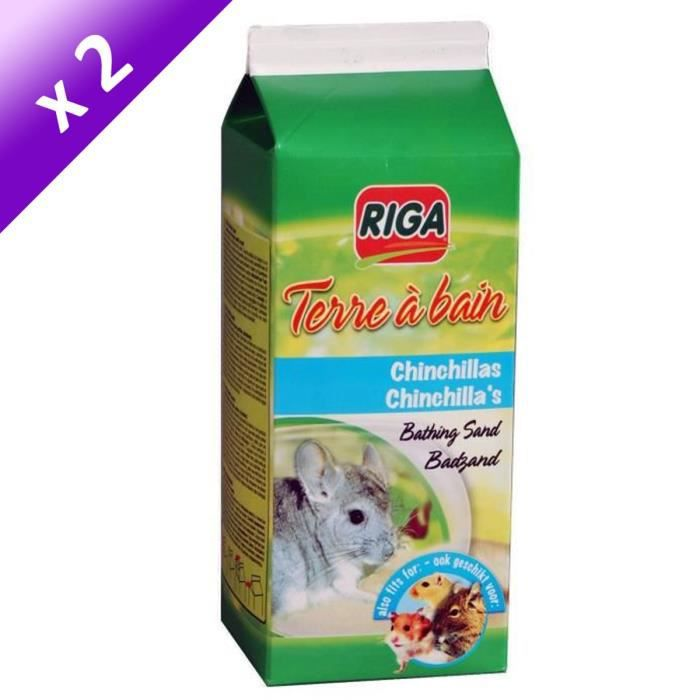 RIGA Lot de 2 Terres à bain pour chinchillas 1,3kg