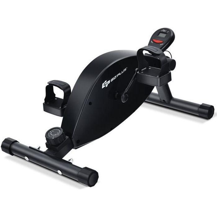 COSTWAY Mini Vélo d'Appartement Magnétique 16 Niveaux de Résistance Réglable Écran LCD 3 Inclinaisons Réglables Charge 150KG Noir