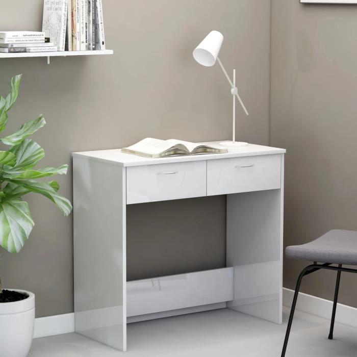 LAM Bureau Blanc brillant 80x40x75 cm Aggloméré