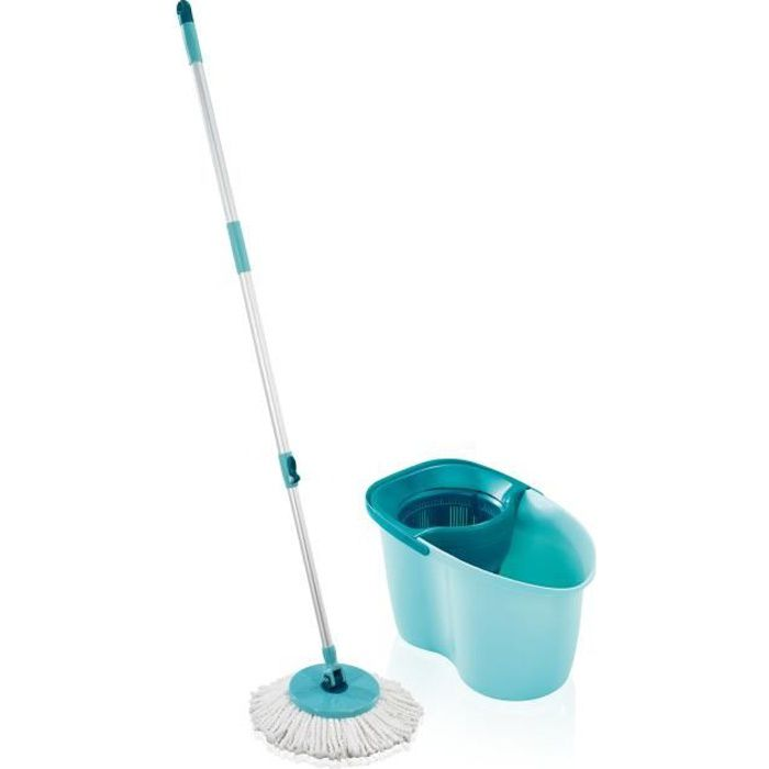 LEIFHEIT Set Lave-sol Clean Twist Disc Mop Active - Manche télescopique de 104 cm à 130 cm - Franges en microfibre