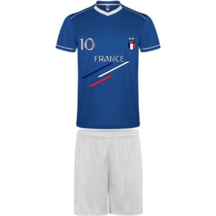 Ensemble short et maillot de Foot France 2 étoiles enfant Taille 4 à 16 ans (8 ans - bleu)