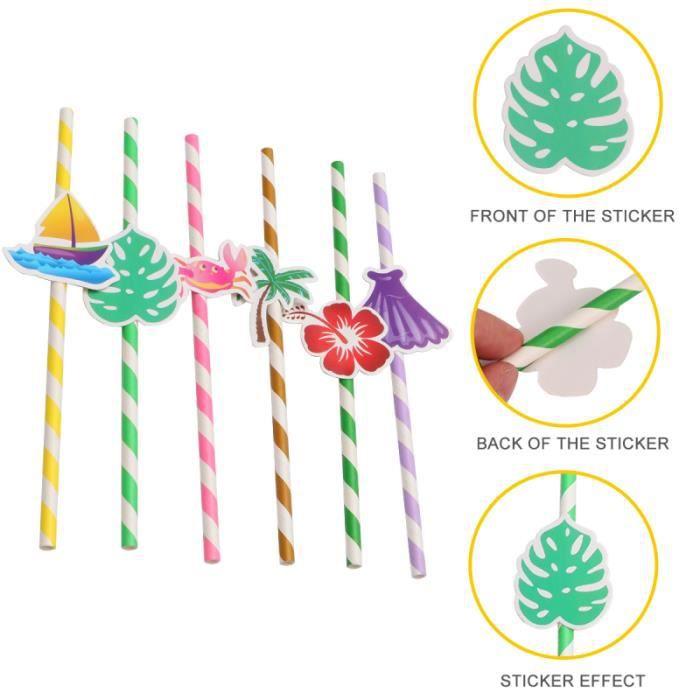 1 ensemble de pailles de mode de carte de plantes élégantes de d'Hawaï pour le décor de boisson NON
