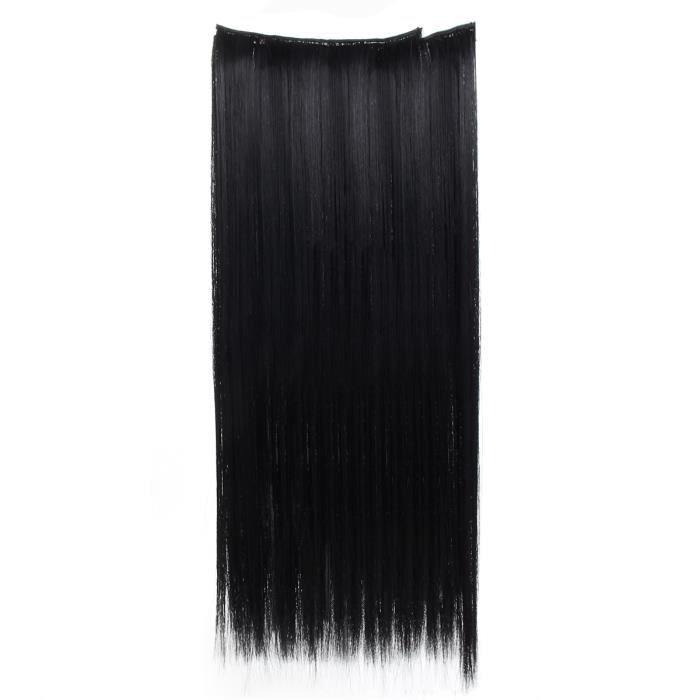 T4W 7Pcs 56cm Cheveux Raides Complets Clip Extensions de Cheveux En Fibre Chimique Résistant à Chaleur Noir Naturel