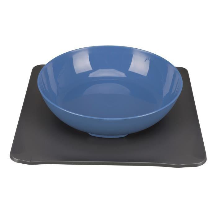 TRIXIE Yummynator antidérapant - 850 ml - 24 × 24 cm - Bleu et gris - Pour chien