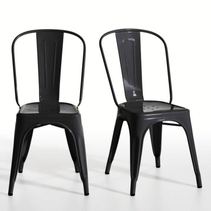 chaise en m tal noir laqu loft lot de 2 achat vente. Black Bedroom Furniture Sets. Home Design Ideas