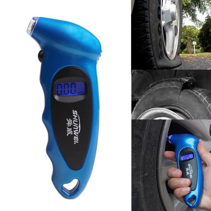 voiture tire pressure gauge cran lcd avec psi et bar num rique jauge de pression pneu de v lo. Black Bedroom Furniture Sets. Home Design Ideas