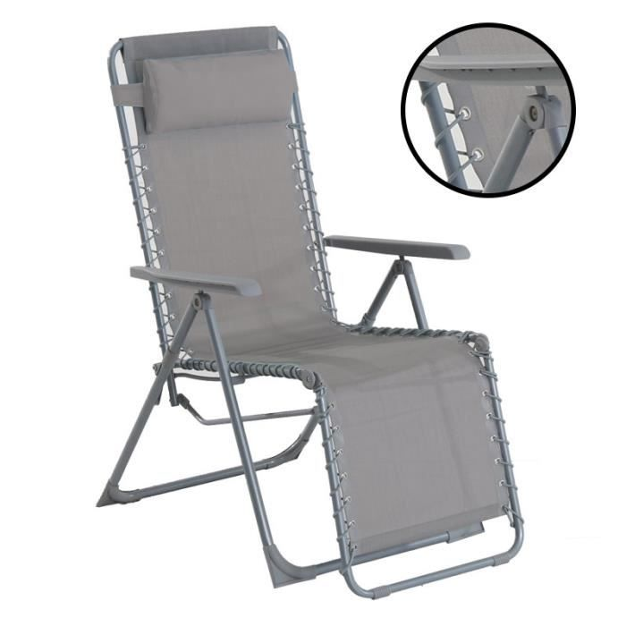Fauteuil relax siesta gris galet achat vente chaise for Chaise longue siesta