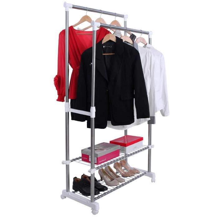 penderie dressing portemanteau rack v tements rack s cheuse avec roues r glable 95 172cm. Black Bedroom Furniture Sets. Home Design Ideas