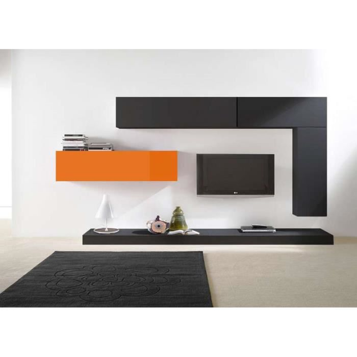 ensemble tv suspendu city v noir noir orange achat vente living meuble tv ensemble tv. Black Bedroom Furniture Sets. Home Design Ideas