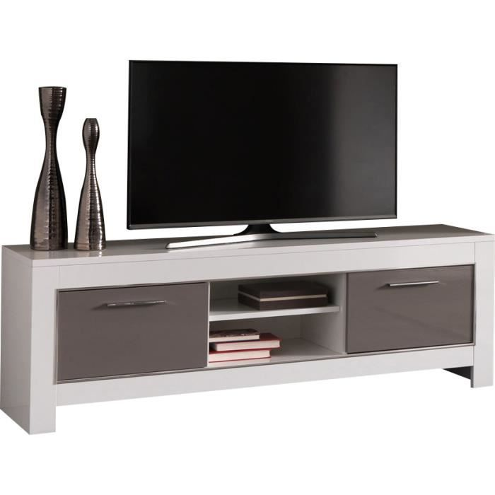 meuble tv design blanc et gris laqu brillant de 160 cm blanc et gris achat vente meuble tv. Black Bedroom Furniture Sets. Home Design Ideas