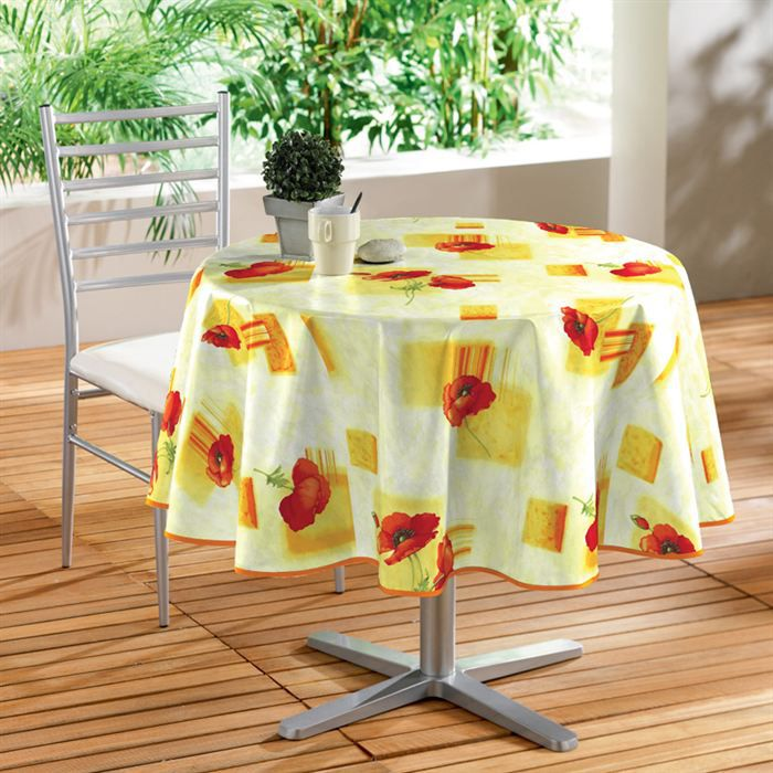 douceur d 39 interieur nappe toile cir e d cor pavot 160 cm jaune achat vente nappe de table. Black Bedroom Furniture Sets. Home Design Ideas