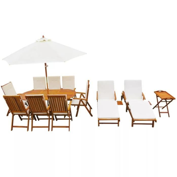 Festnight 23 pcs Salon Jardin en Bois d\'acacia Massif 1 Tables 8 ...