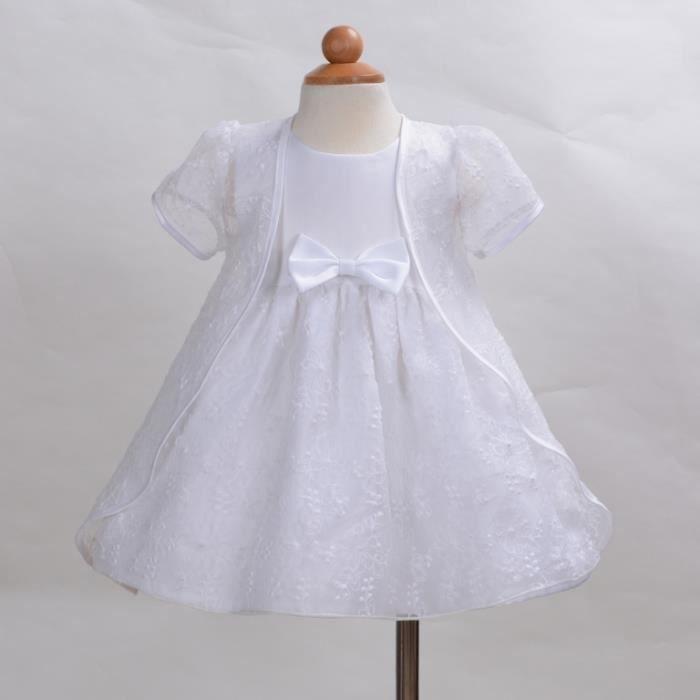 Robe De Bapteme Avec Cap Pour Bebe Fille Blanc Blanc Achat Vente Robe De Ceremonie Cdiscount
