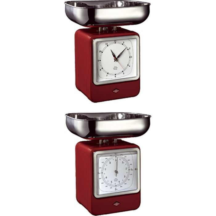 wesco balance de cuisine avec horloge rouge 322204 achat vente balance analogique wesco. Black Bedroom Furniture Sets. Home Design Ideas