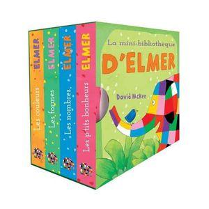 LIVRE 0-3 ANS ÉVEIL La mini-bibliothèque d'Elmer. Coffret en 4 volumes