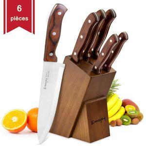 COUTEAU DE CUISINE  Set de 6 Couteau de Cuisines, Bloc de Couteaux Pro