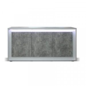BUFFET - BAHUT  Buffet 3 portes Blanc/Béton ciré à LEDs - RODIO -
