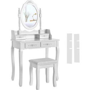 COIFFEUSE 75x40x145CM Coiffeuse Table de Maquillage avec Mir