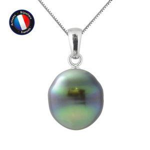 SAUTOIR ET COLLIER Pendentif - Perle de Culture de Tahiti Cerclée 11-