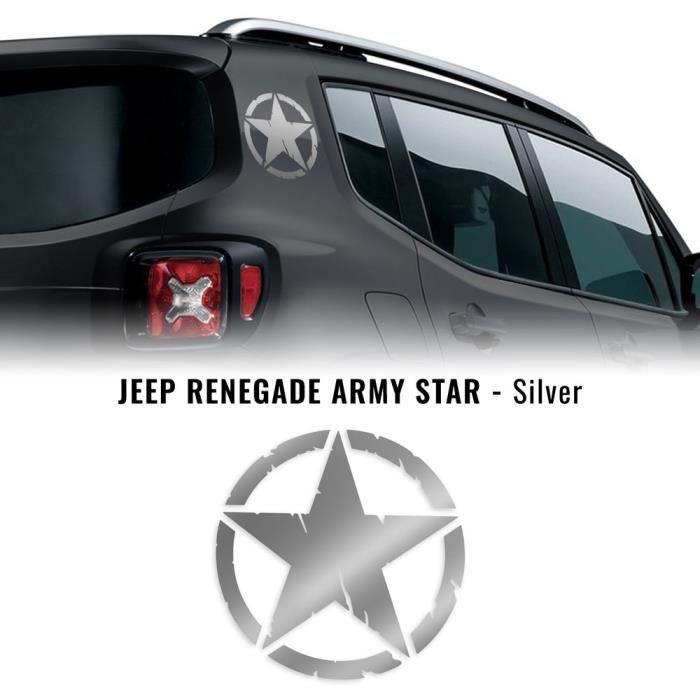 Autocollants Stickers Étoile Army Star pour Jeep Renegade, Argent, Diam. 20 cm, 2 Pièces