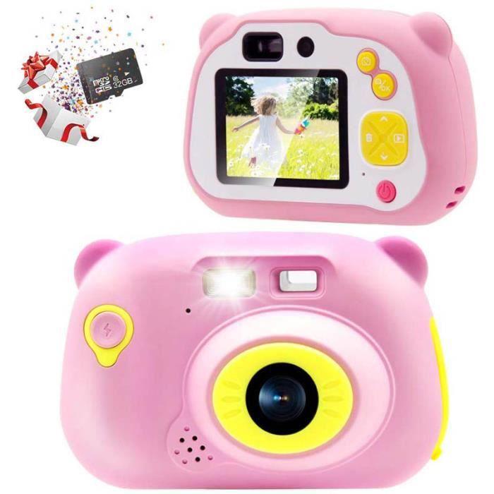 32GB Enfants Appareil Photo 15.0MP Rechargeable Appareil Photo Numérique Avant et Arrière Selfie Caméra Enfant Caméscope, (Rose)