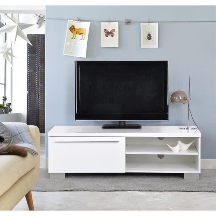 Meuble TV 120x37x45cm Blanc Laqué 1 Tiroir