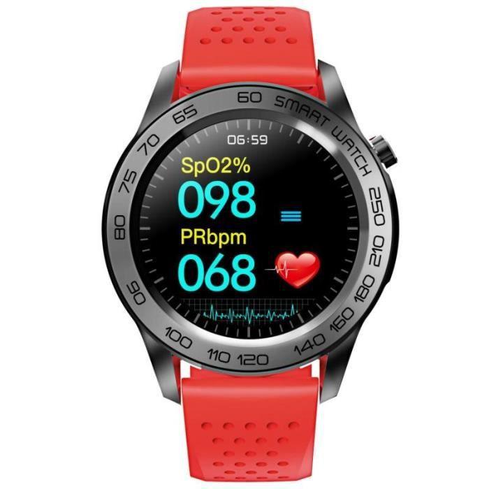 Montre Connectée Homme Femme F22U Bluetooth Sport Montre intelligente GPS tactile complet Bracelet intelligent, Rouge DN1