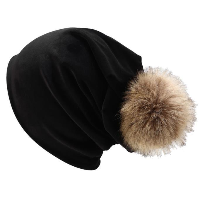 Femmes hiver en duvet d'oie casquette de couleur unie casquette décontractée cache-oreilles LTA90812081BK_Leshaishu