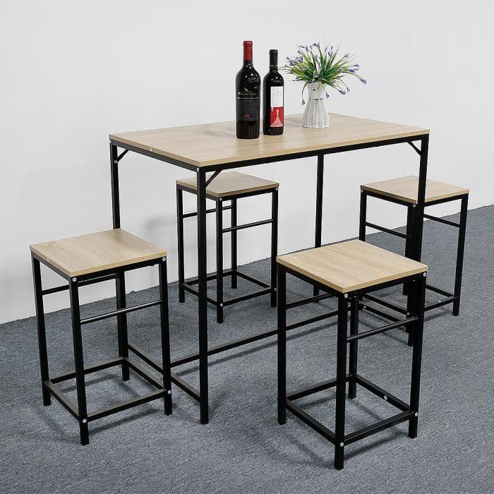 WISS Ensemble Table de Bar + 4 tabourets ,Table Mange-debou pour Cuisine Bistrot Jardin.