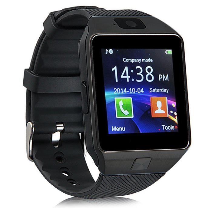 Montre intelligente Soutien SIM/TF Card Hommes femmes tactile écran Pédomètre sport montre à bracelet avec HD Caméra pour les télép