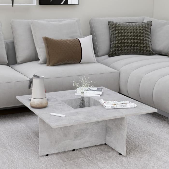 120Qualité•)Table basse décor design vintage scandinave Table basse Gris béton 79,5x79,5x30 cm Aggloméré