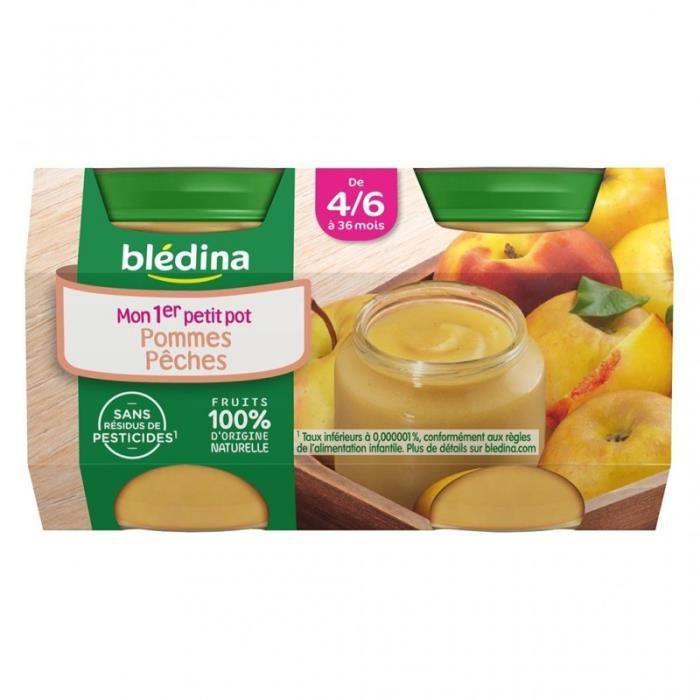 Blédina Pommes Pêches (de 4/6 à 36 mois) par 4 pots de 130g (lot de 6 soit 24 pots)