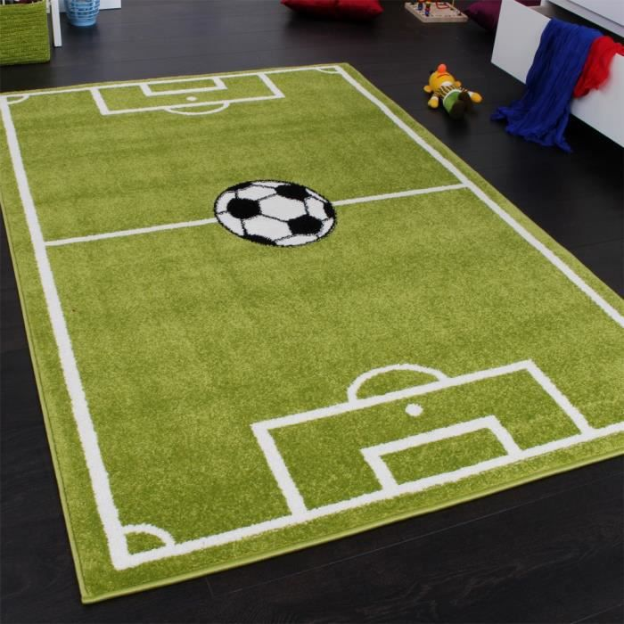 Tapis Chambre d'Enfant Tapis de Jeux Terrain De Football Vert [160x220 cm]