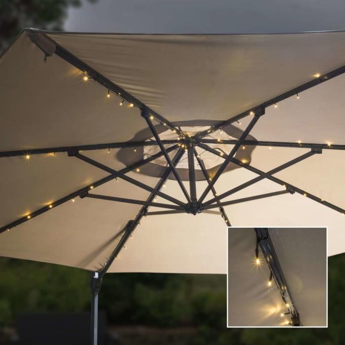 Bonne qualité - Parasol de Jardin avec guirlande lumineuse à LED - Parasol d'extérieur Parasol pour Balcon Plage 130 cm @7818 :