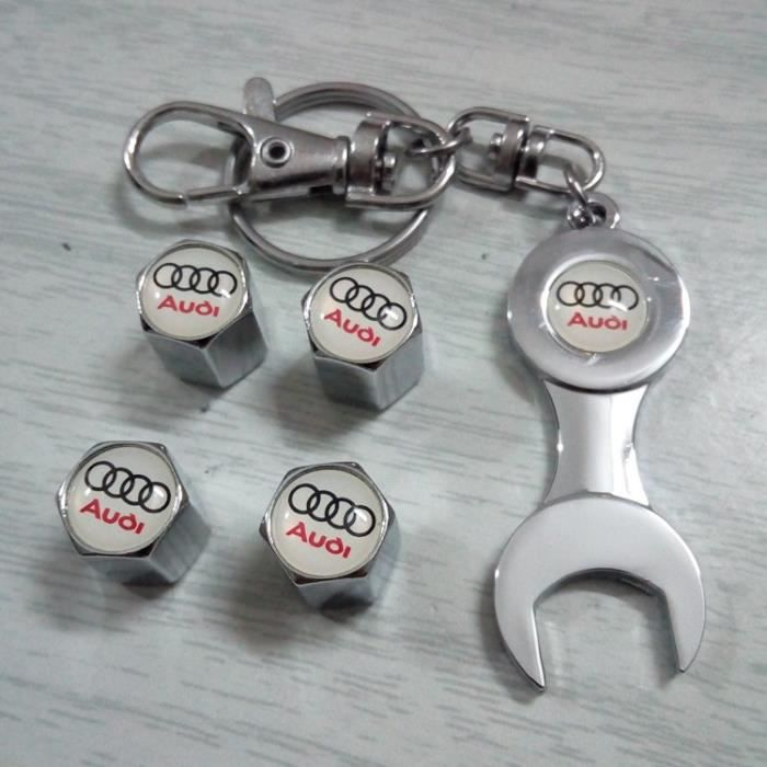 4*Bouchon de valves + Porte-clés ( Chrome ) Blanc logo pour Audi
