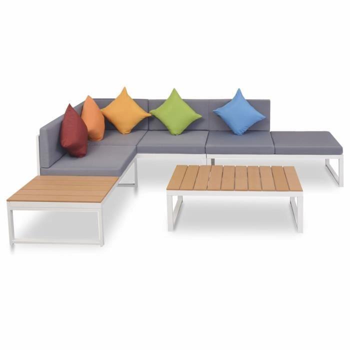 #60279 Ensemble repas de jardin Professionnel - Ensemble Table et Chaise de Jardin 4 pcs - avec coussins Aluminium et WPC Parfait