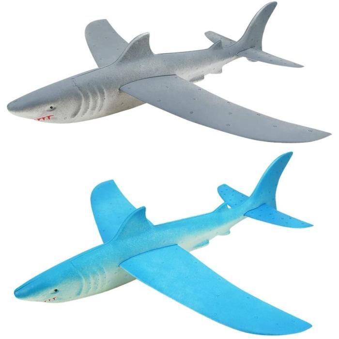 2 PièCes SéRies Avion en Mousse Lancement à Main Jouet d'avion Jetant Avion de Planeur Mousse Inertielle Jouet Avion Requin Modèle