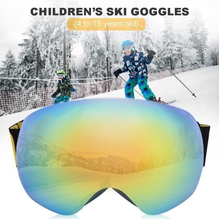BE NICE 4701 Lunettes de ski anti-buée pour enfants Lunettes de neige sphériques sans cadre et anti-dérapantes