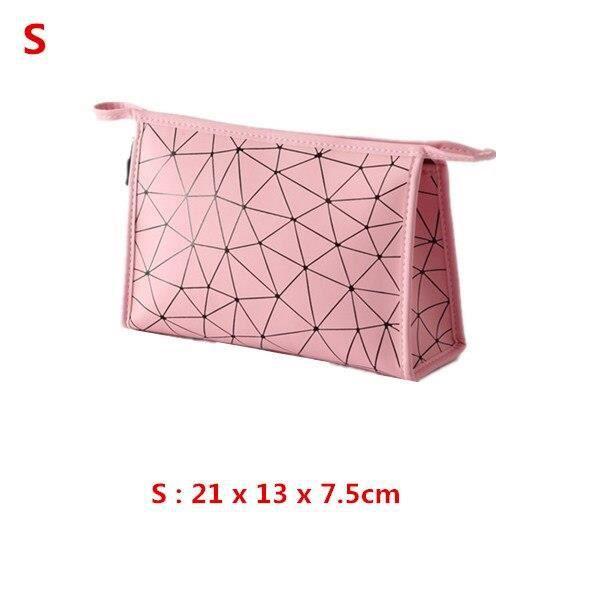 Trousses,Sac à cosmétiques étanche de grande capacité en cuir PU pour femmes,organisateur de maquillage de toilette - Type S-Pink