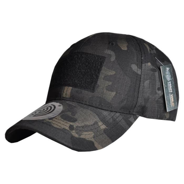Chapeaux de Camouflage militaire Multicam réglables pour hommes, casquette Airsoft Snapback tactique black camo 54-60(cm)adjustment