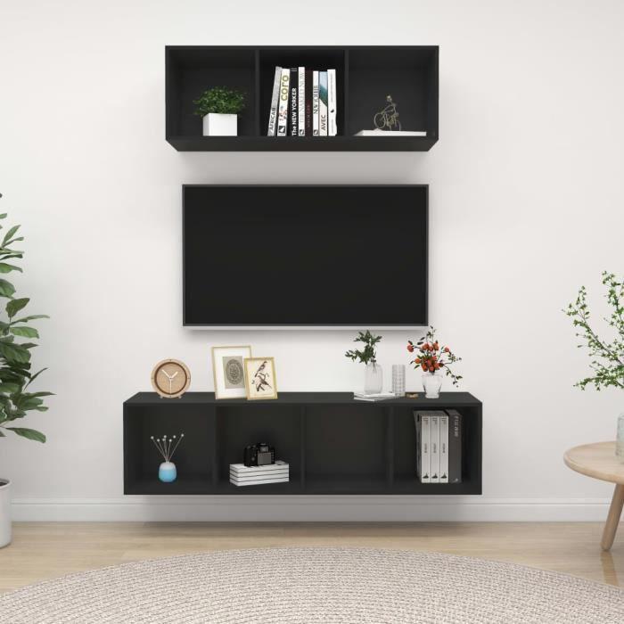 WONG Ensemble de meuble TV suspendu 2 pcs Noir Aggloméré