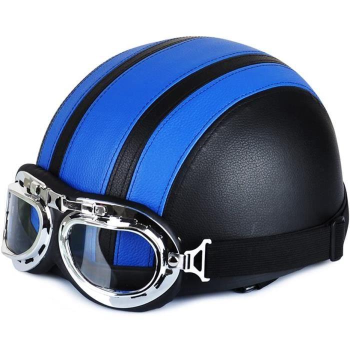 Casque de Moto et Velo Bol Lunettes Retro Style de Vintage Cuir Harley Casque Moitié Helmets 54-60cm