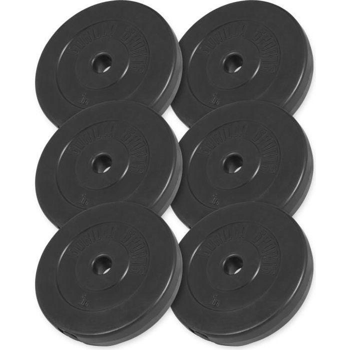 Gorilla Sports - Lot des poids en plastique de 30kg (6x5kg) de diamètre 31mm
