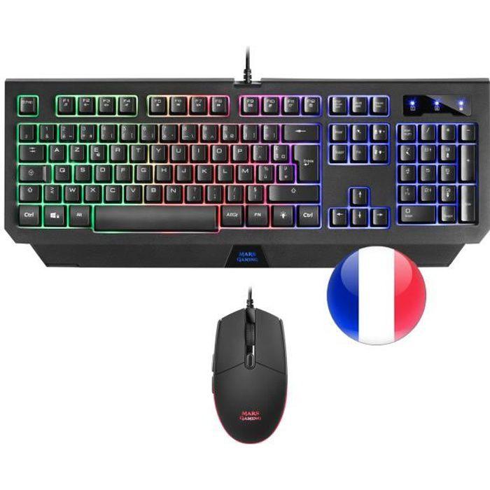 Mars Gaming MCP100, Pack Peripheriques Gaming Clavier et Souris, Éclairage RGB
