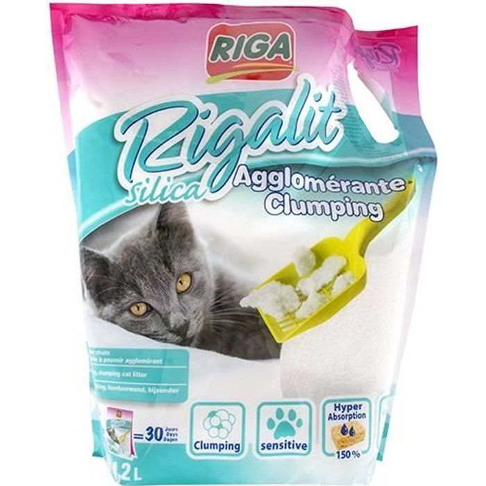 Rigalit Litière fine agglomérante - Pour chat - 1,8kg