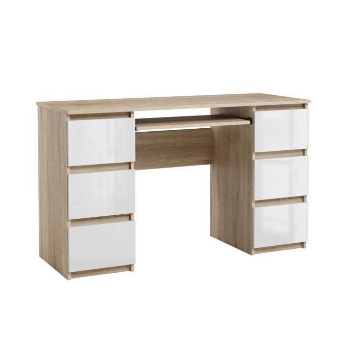 Bureau d'ordinateur élégant 3 tiroirs bureau informatique JARIS chêne sonoma et blanc brillant 130 cm